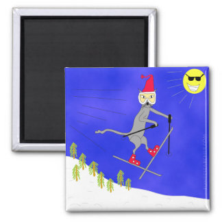 Witty Ski Kitty Gets Big Air 2 Inch Square Magnet