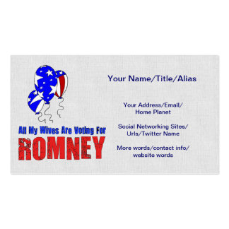 Wives For Romney Business Card