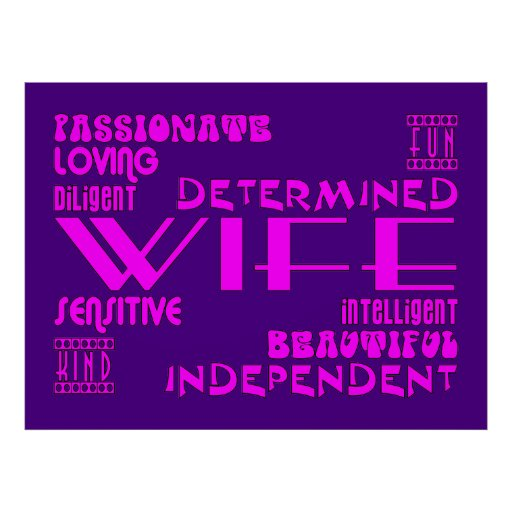 Wives Wedding Anniversary Birthday Party Qualities Poster