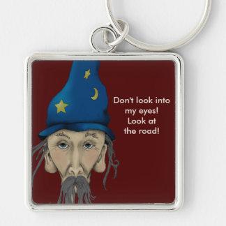 Wizard Advises a Driver Silver-Colored Square Keychain