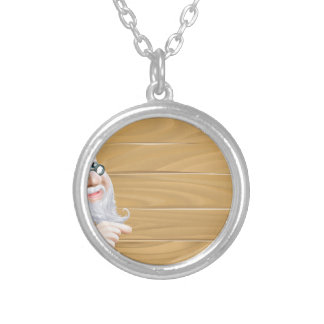 Wizard and blank wooden sign round pendant necklace