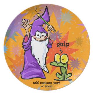 Wizard and Frog Magic Fun Magician Customize Plate
