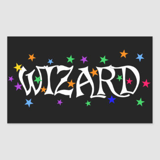 Wizard and Stars Rectangular Sticker