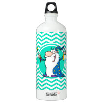Wizard; Aqua Green Chevron Water Bottle
