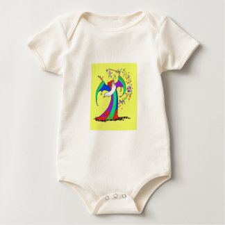 Wizard casting colorful magic spells with wand. baby bodysuit