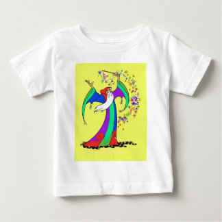 Wizard casting colorful magic spells with wand. baby T-Shirt