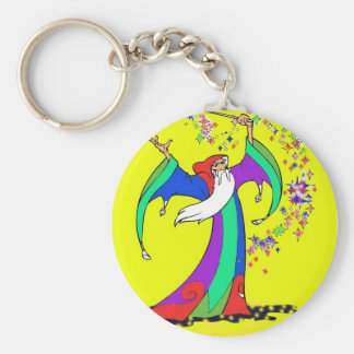 Wizard casting colorful magic spells with wand. basic round button keychain