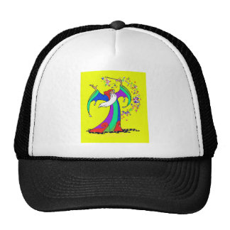 Wizard casting colorful magic spells with wand. trucker hat