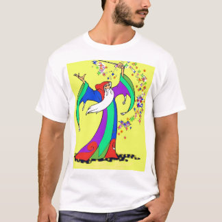 Wizard casting colorful magic spells with wand. T-Shirt