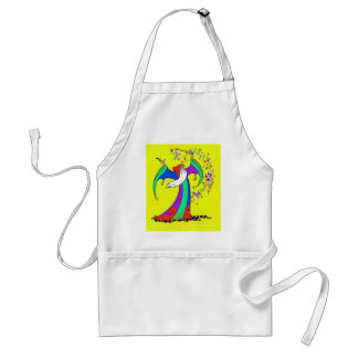 Wizard casting colourful magic spells with wand adult apron