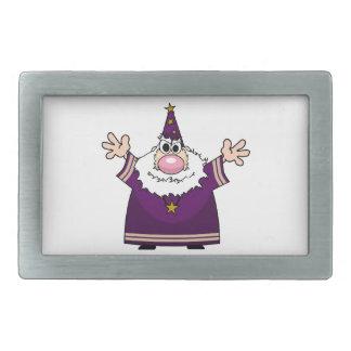 Wizard casting spell rectangular belt buckles