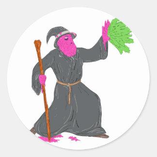 Wizard Casting Spell Grime Art Classic Round Sticker