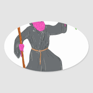 Wizard Casting Spell Grime Art Oval Sticker