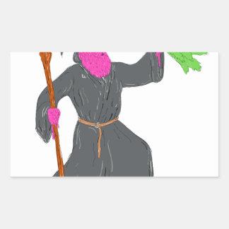 Wizard Casting Spell Grime Art Rectangular Sticker