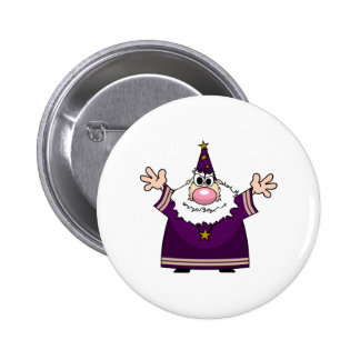 Wizard casting spell pinback button