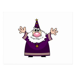 Wizard casting spell postcard