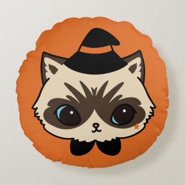 Halloween Themed Wizard Cat Halloween Collection Round Pillow