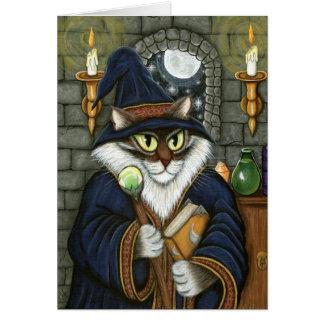 Wizard Cat Merlin Magician Magic Fantasy Art Card