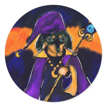 Halloween Themed WIZARD DACHSHUND CLASSIC ROUND STICKER