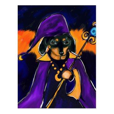 Halloween Themed WIZARD DACHSHUND POSTCARD