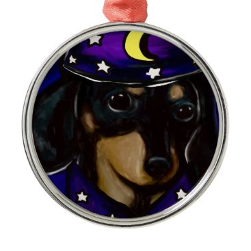 Halloween Themed Wizard Doxie Metal Ornament