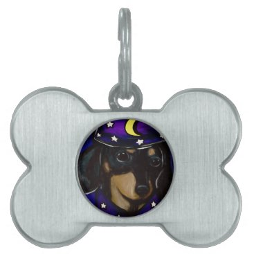 Halloween Themed Wizard Doxie Pet ID Tag
