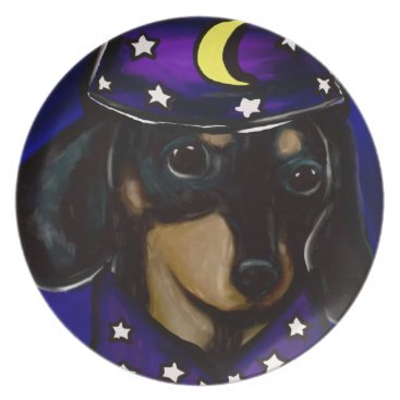 Halloween Themed Wizard Doxie Plate