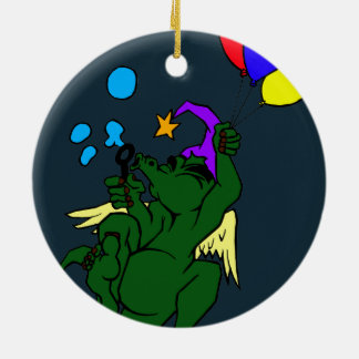 Wizard Dragon With Balloons Double-Sided Ceramic Round Christmas Ornament