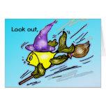 Wizard Fish - funny cute drawing Greeting Card