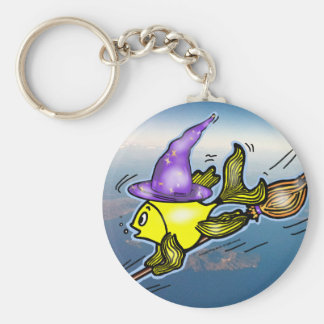 Wizard Fish - funny cute drawing Basic Round Button Keychain