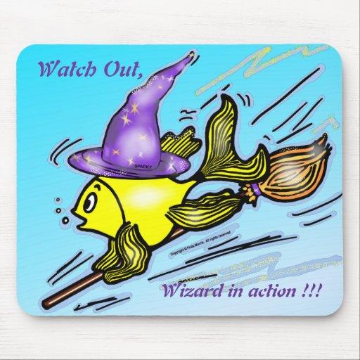 Wizard Fish - funny cute drawing Mousepads