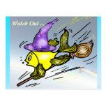Wizard Fish - funny cute drawing Post Card