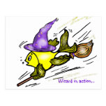 Wizard Fish - funny cute drawing Postcard