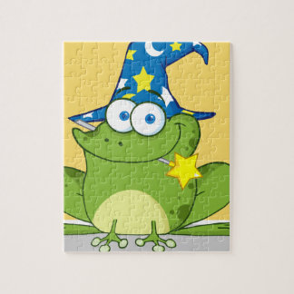 Wizard Frog With A Magic Wand In Mouth Jigsaw Puzzle