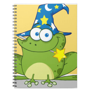 Wizard Frog With A Magic Wand In Mouth Spiral Notebook