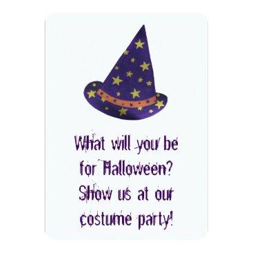Halloween Themed Wizard Hat Halloween Costume Party Invitations