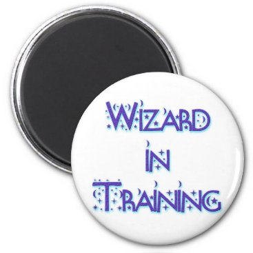 Halloween Themed Wizard in Training blue Magnet