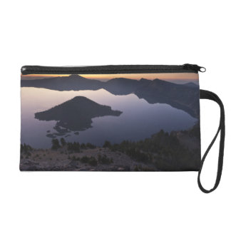 Wizard Island at dawn Crater Lake National Park Wristlet Clutch