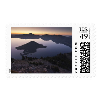 Wizard Island at dawn, Crater Lake National Park Postage Stamp