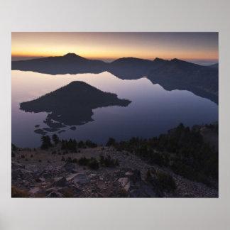 Wizard Island at dawn, Crater Lake National Park Poster