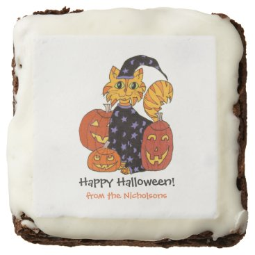 Halloween Themed Wizard Kitty Cat and Pumpkins Halloween Chocolate Brownie