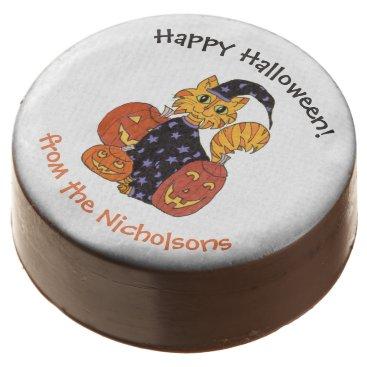Halloween Themed Wizard Kitty Cat and Pumpkins Halloween Chocolate Dipped Oreo