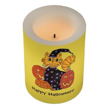 Halloween Themed Wizard Kitty Cat and Pumpkins Halloween Flameless Candle