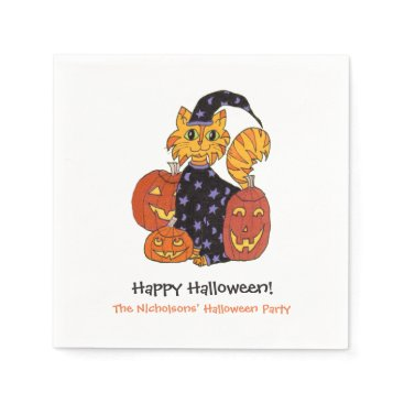 Halloween Themed Wizard Kitty Cat and Pumpkins Halloween Party Napkin