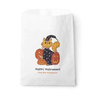 Halloween Themed Wizard Kitty Cat Halloween Trick or Treat Favor Bag