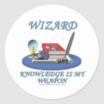 Wizard: Knowledge is My Weapon Round Sticker