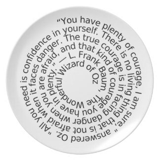 Wizard of Oz courage quote dinner plate