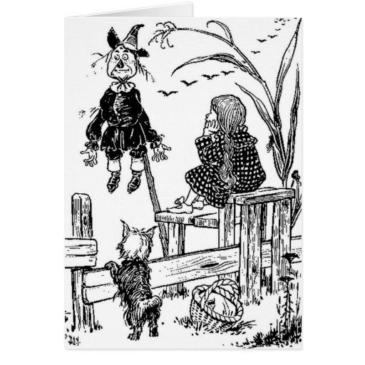 Wizard of Oz Dorothy Toto and the Scarecrow Greeting Card