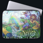"""Wizard of Oz Laptop Sleeve<br><div class=""""desc"""">The Wonderful Wizard of Oz artwork by Traci Van Wagoner is a fun and colorful depiction of L. Frank Baum&#39;s The Wonderful Wizard of Oz published in 1900 with the tornado spinning the house out of a book and into the land of Oz with Dorothy, Toto, Cowardly Lion, Tin Man,...</div>"""