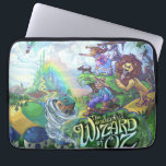"Wizard of Oz Laptop Sleeve<br><div class=""desc"">The Wonderful Wizard of Oz artwork by Traci Van Wagoner is a fun and colorful depiction of L. Frank Baum&#39;s The Wonderful Wizard of Oz published in 1900 with the tornado spinning the house out of a book and into the land of Oz with Dorothy, Toto, Cowardly Lion, Tin Man,...</div>"
